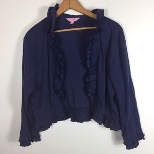 Lily Pulitzer Blue Ruffle Trim Open Front Cardigan